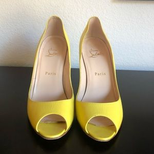 Yellow Peep Toe Pumps